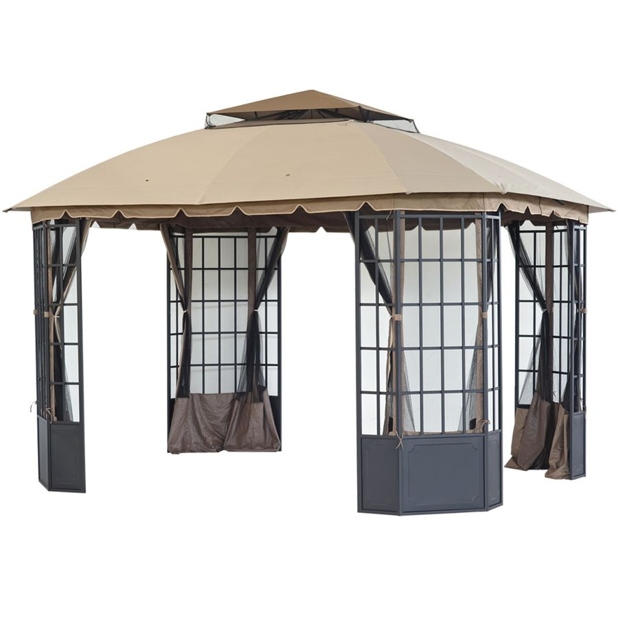 Sunjoy Loden Black Steel Rectangle Permanent Gazebo Exterior 10 Ft X 12 Ft Foundation 12 Ft X 10 Ft Lowes Com Permanent Gazebo Pergola Gazebo