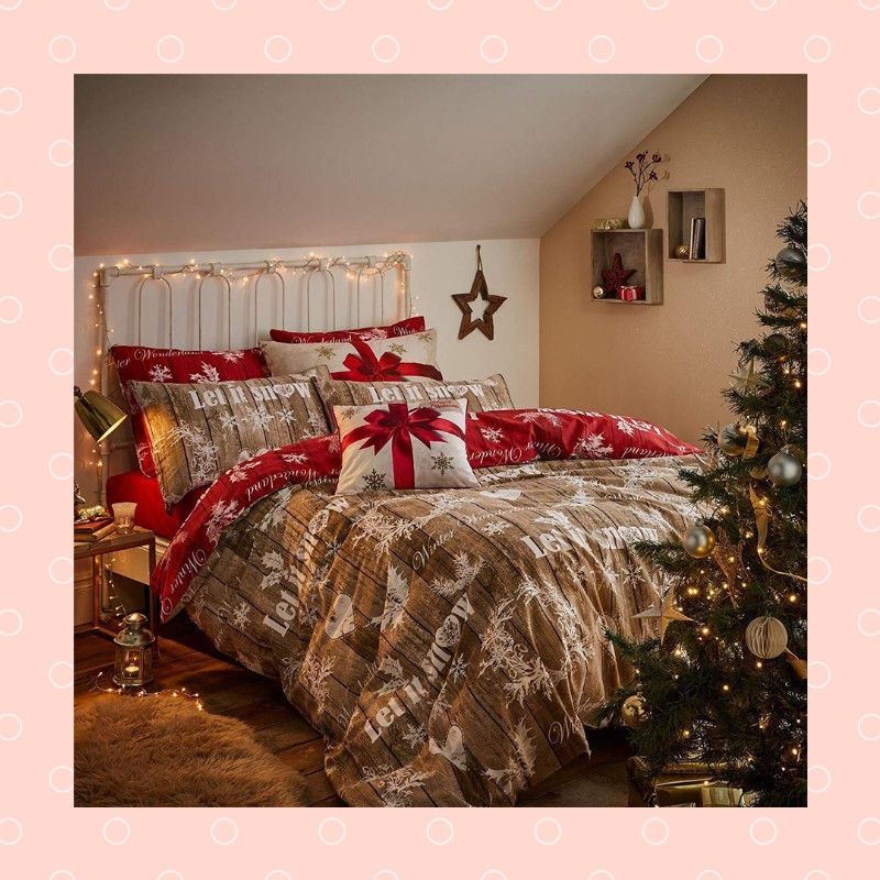 Christmas Quilt Duvet Coverlet Pillow Cases Set Bed Sheet Snow