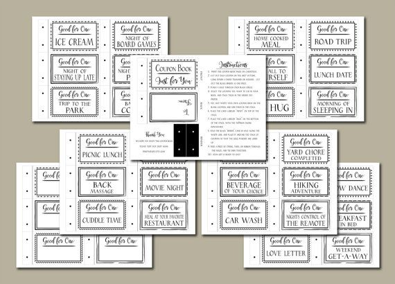 Coupon Book printable Black  White Instant download DIY PDF