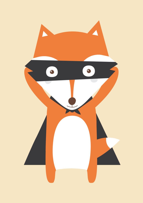 Poster petit renard illustration pour chambre d 39 enfant par for Poster pour chambre
