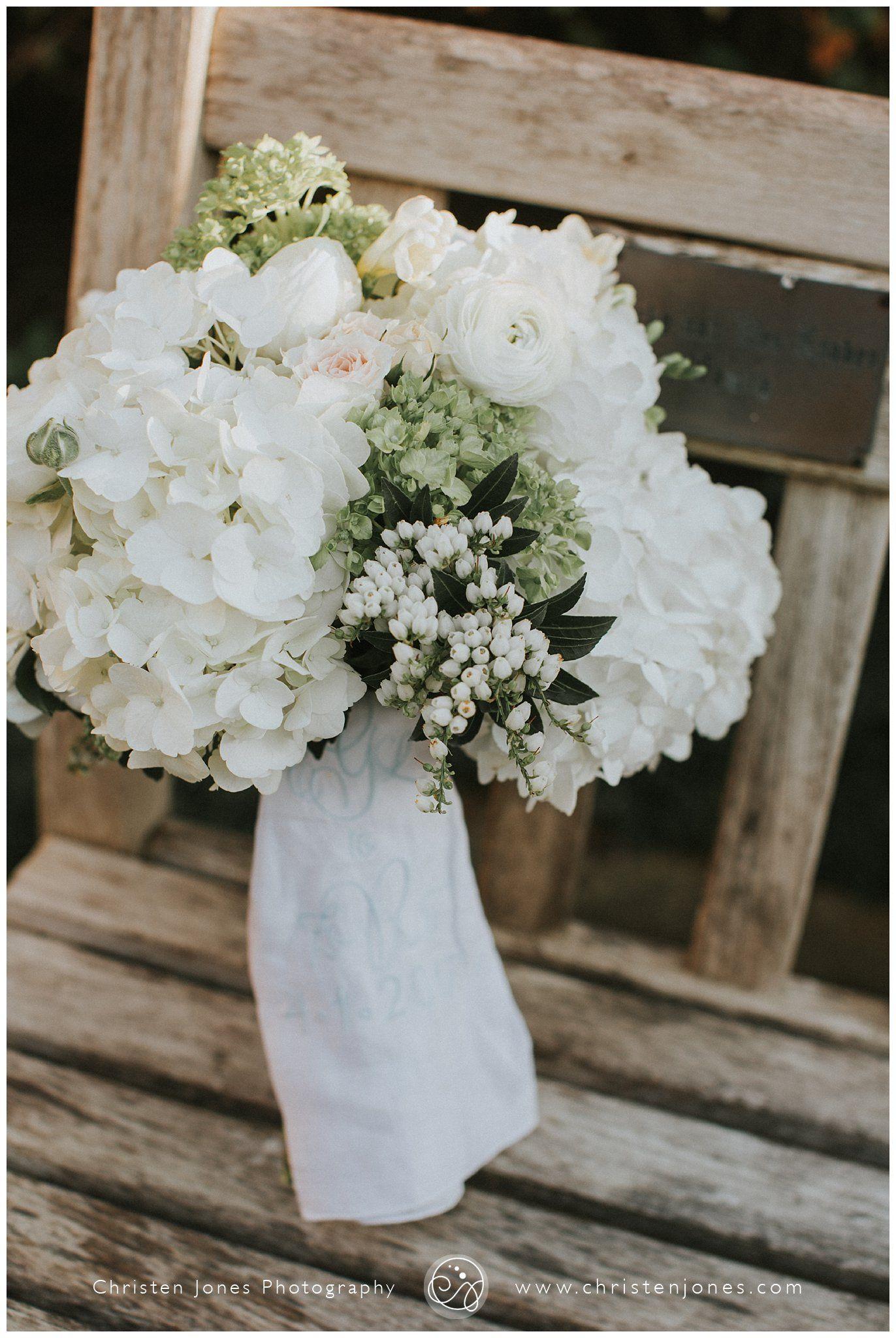 Kathleen Towner Flowers Memphis Wedding Vendors Bridal Bouquet White Hydrangeas Hankerchief And Green Rustic Christen