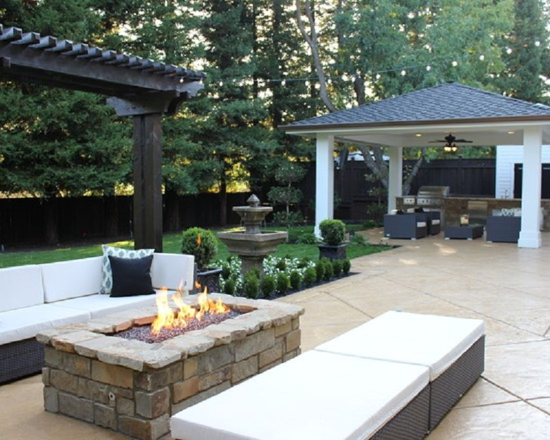 inspirational design fire pit patio. Decorating  Cool Outdoor Patio Ideas With Rectangle Fire Pit And Modern Rattan Furniture Beautiful with Design diy rectangle fire pit Google Search Gardening Outdoors