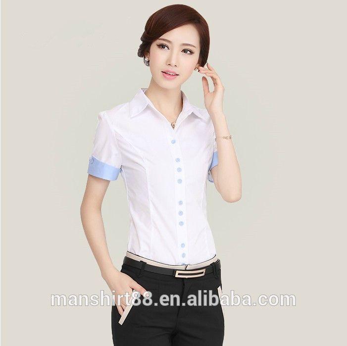 2016 wholesale 100 organic cotton short sleeve slim fit for Office uniform design catalogue