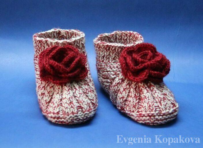 тапочки с розочками своими руками вязание спицами спицы носки
