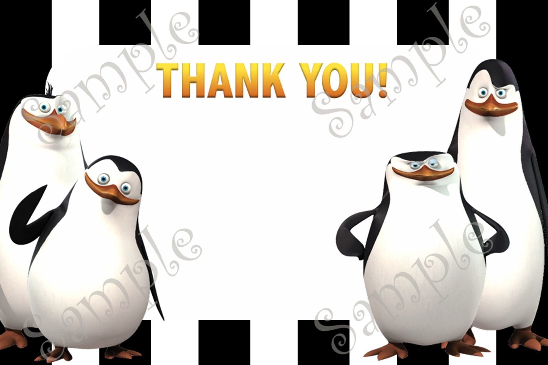 Penguins of Madagascar Birthday Invitation and Thank you card – Madagascar Birthday Invitations