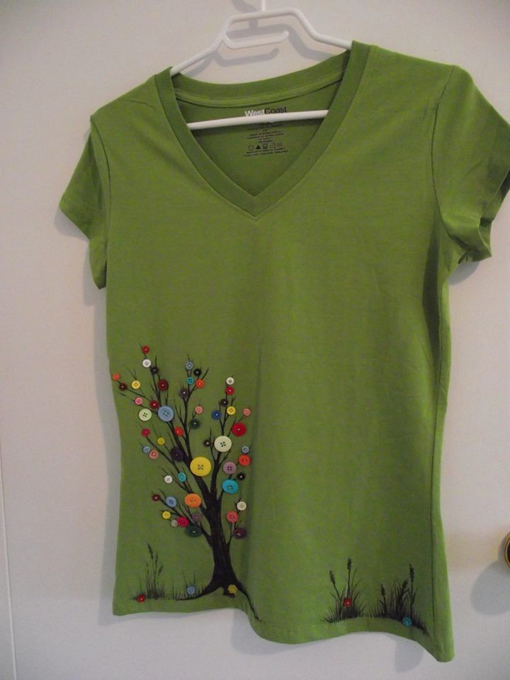 Green Tree Unique T Shirt Decorated By Hand We Use Specialized