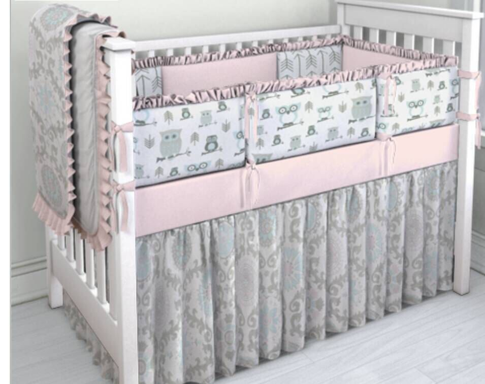 Pink Aqua And Grey Owl Crib Bedding Set Owl Crib Bedding Cribs