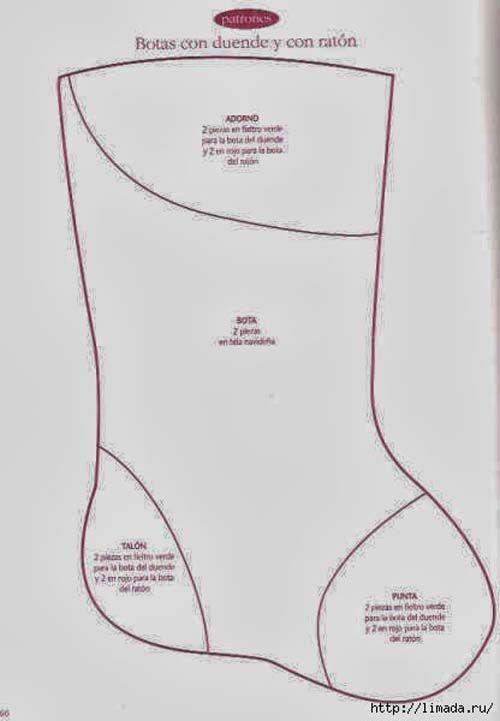 Moldes gratis para hacer botas navideñas de fieltro03 | M ...