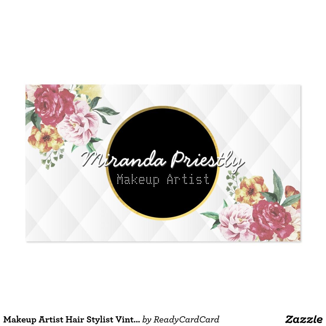 Makeup Artist Hair Stylist Vintage Floral Elegant Business Card ...