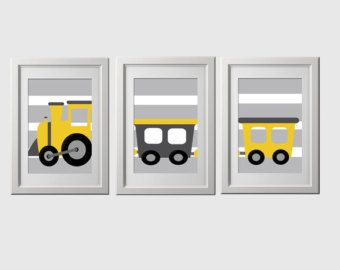 train nursery wall prints train bedroom wall by AmysSimpleDesigns