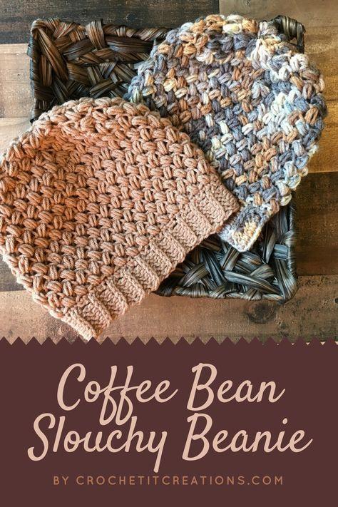Coffee Bean Slouchy Beanie Crochet Pattern by   Crochet Hats ...