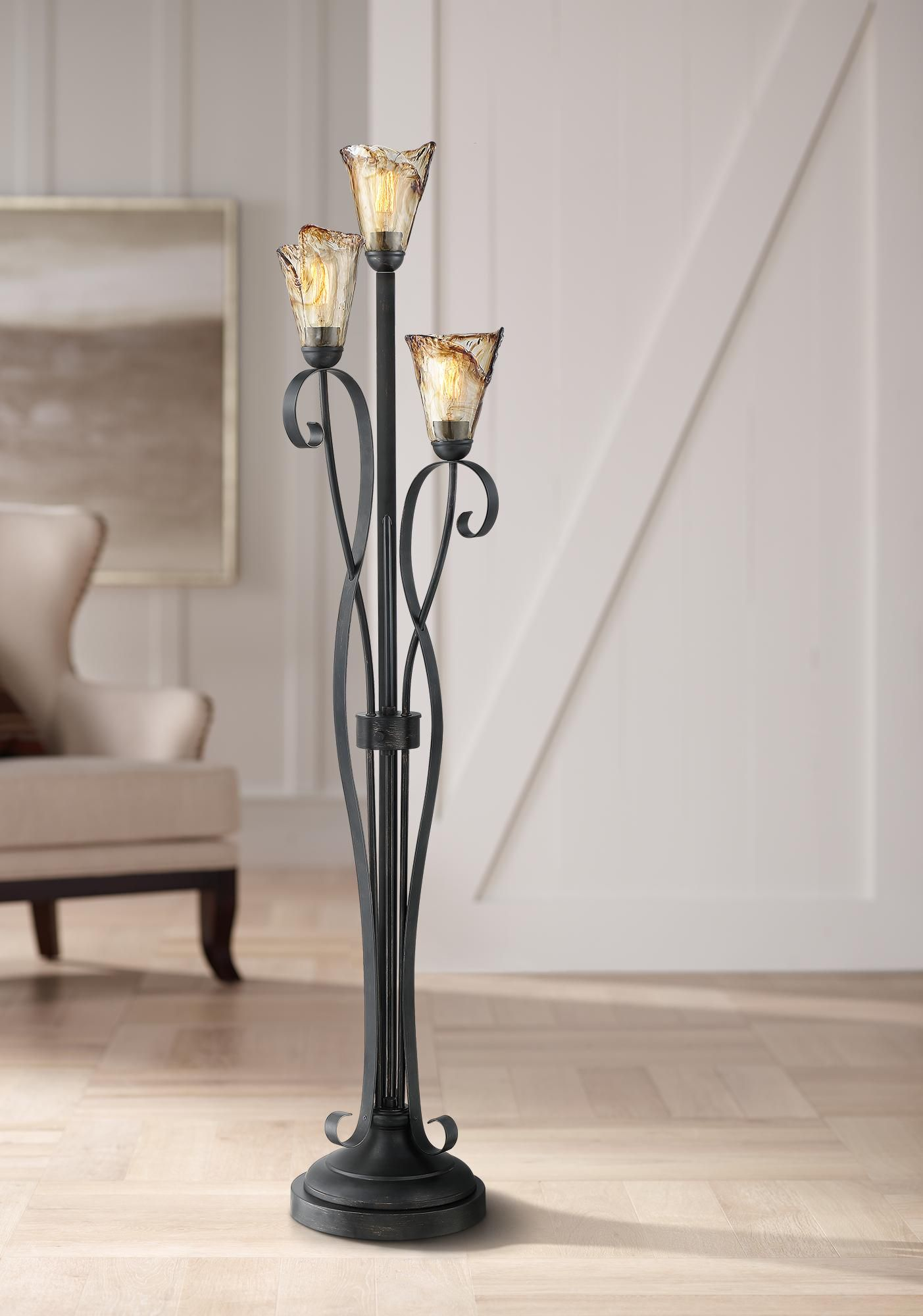 Floor Lamps Gardena Black And Amber Glass 3 Light Tree Floor Lamp In 2020 Tree Floor Lamp Floor Lamp Amber Glass