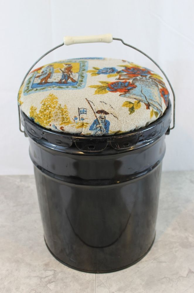 Vintage Metal 5 Gallon Storage Bucket With Padded Lid Seat Mid Century Bucket With Lid
