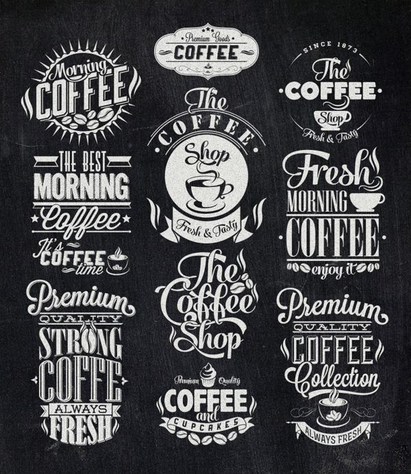 Vintage Coffee Labels by Invisible Studio, via Behance (с