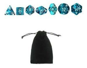 Translucent 7-Die Set (Aqua) with carry bag $6.99