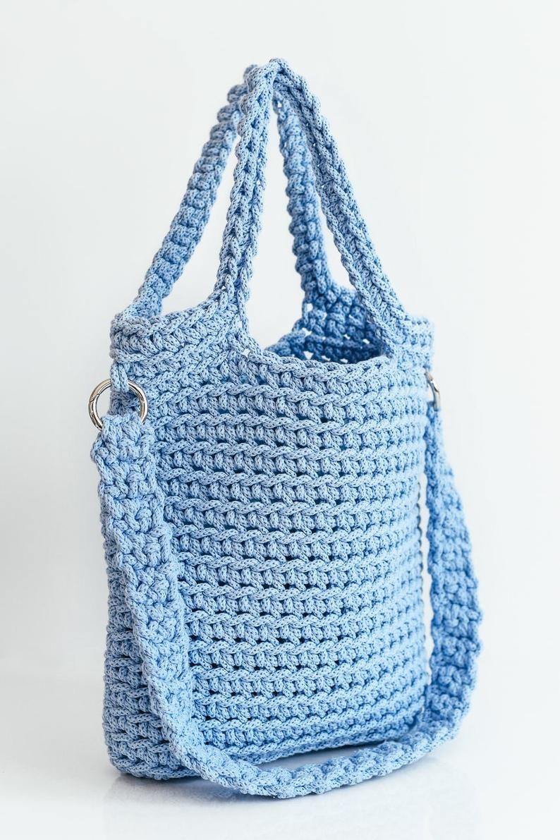 Crochet tote bag Gray shoulder market bag Crochet shopper