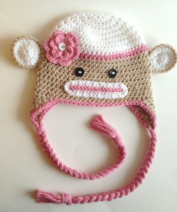 Sock monkey hat, girl winter hat, birthday gift girl, baby winter ...