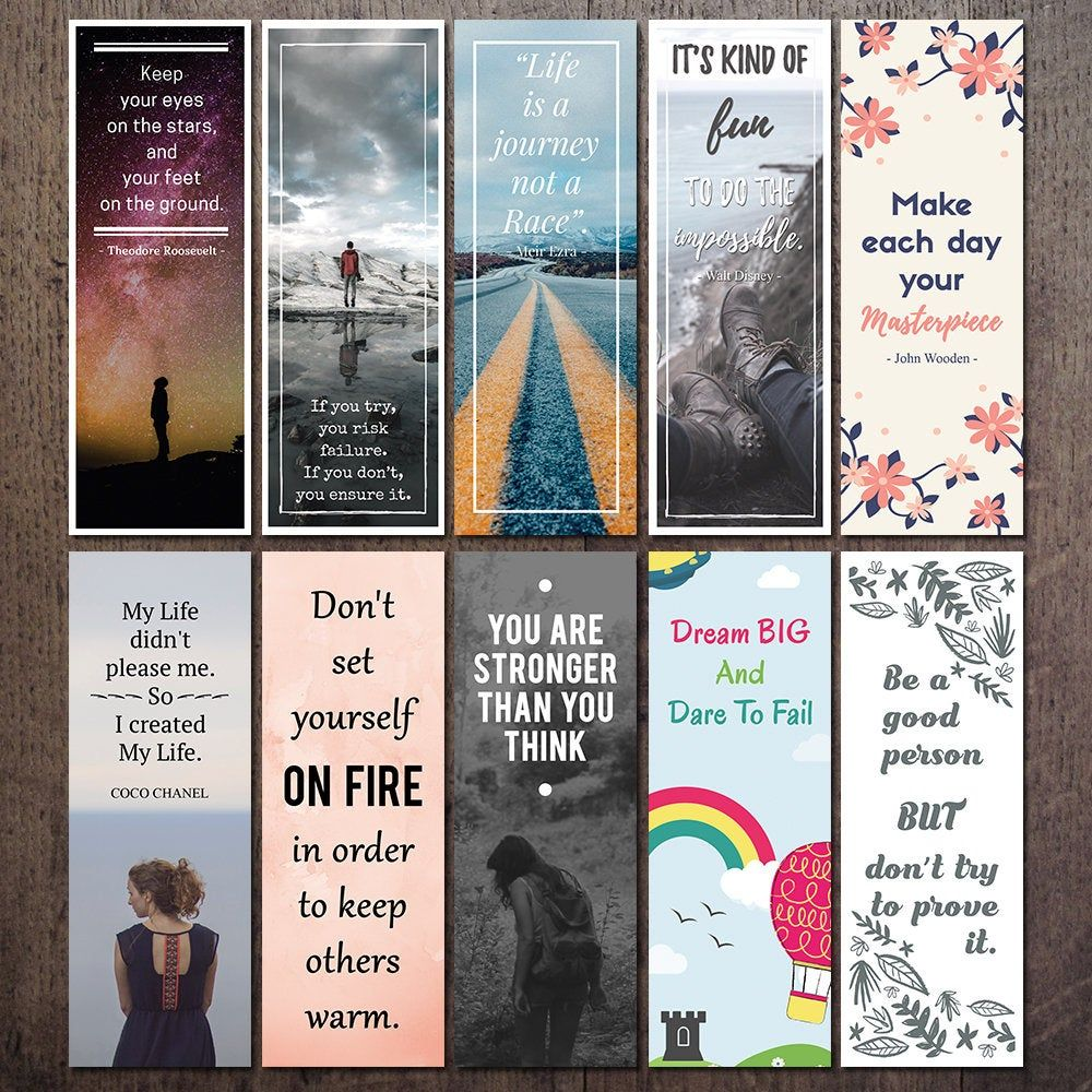 Printable Quote Bookmark Set Motivational And Inspirational