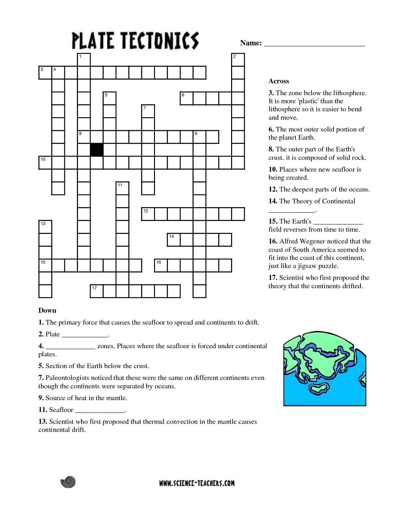 Planets Crossword Puzzle Worksheet