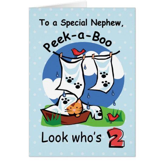 Nephew 2nd Birthday Peek A Boo Kitten Card Boy Birthdays
