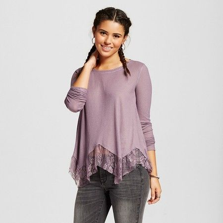 Women's Lace Godet Textured Knit Long Sleeve Top