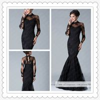 Freeshipping! ER3266 Latest Sexy High Neck Black Lace Mermaid Gown Prom Dreesses with Sleeves