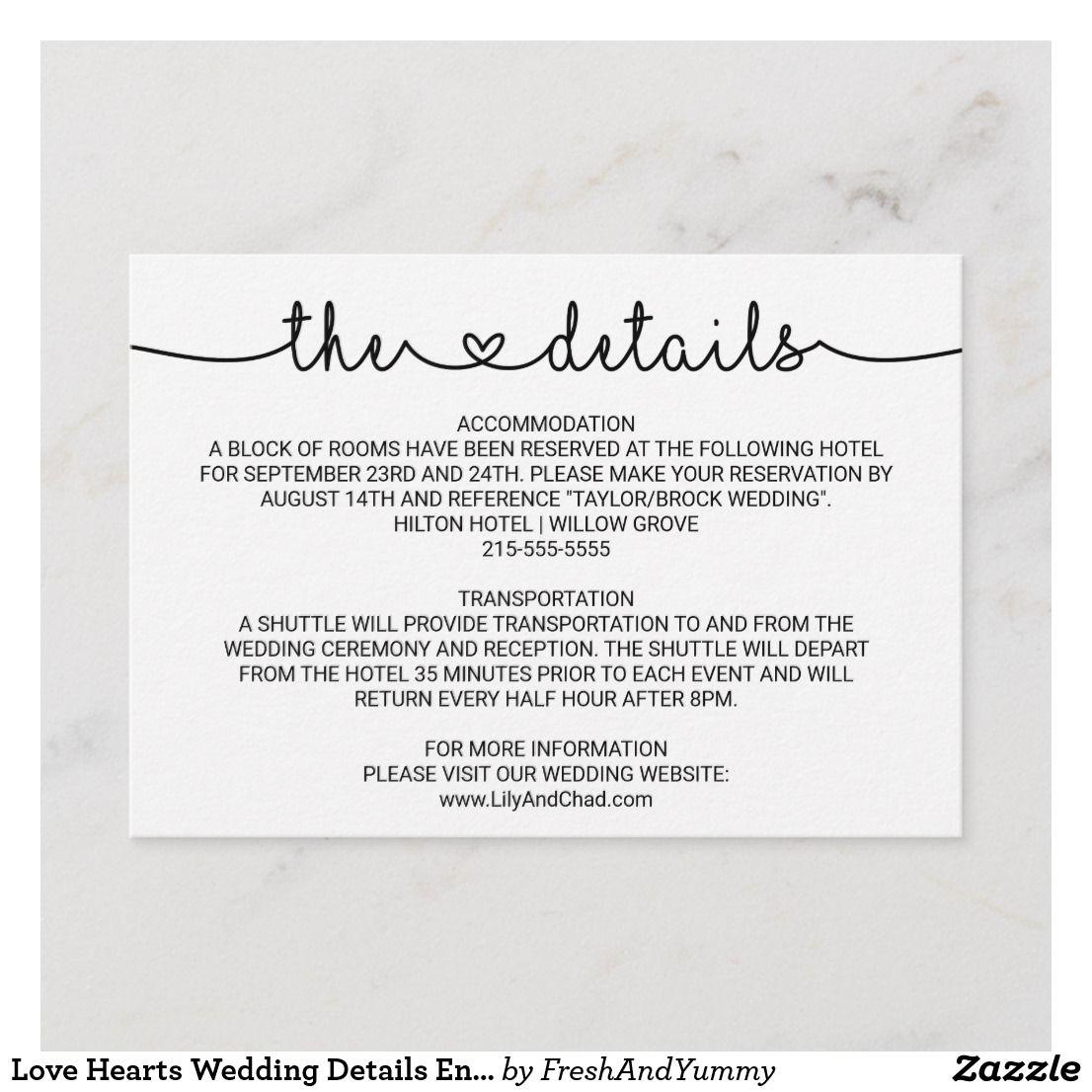 Love Hearts Wedding Details Enclosure Card