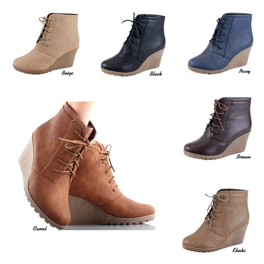 NEW Women Micro Suede Chukka Style Lace Up Wedge Heel Ankle Boots Bootie