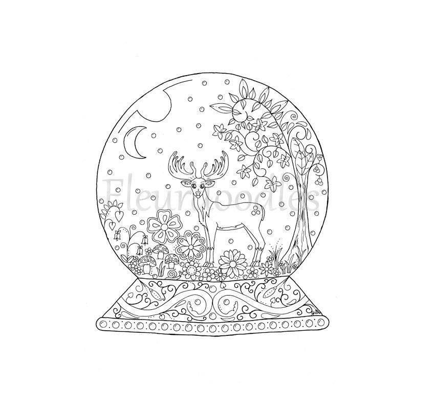 Adult Coloring Pages Christmas Snow Globes Coloring Pages