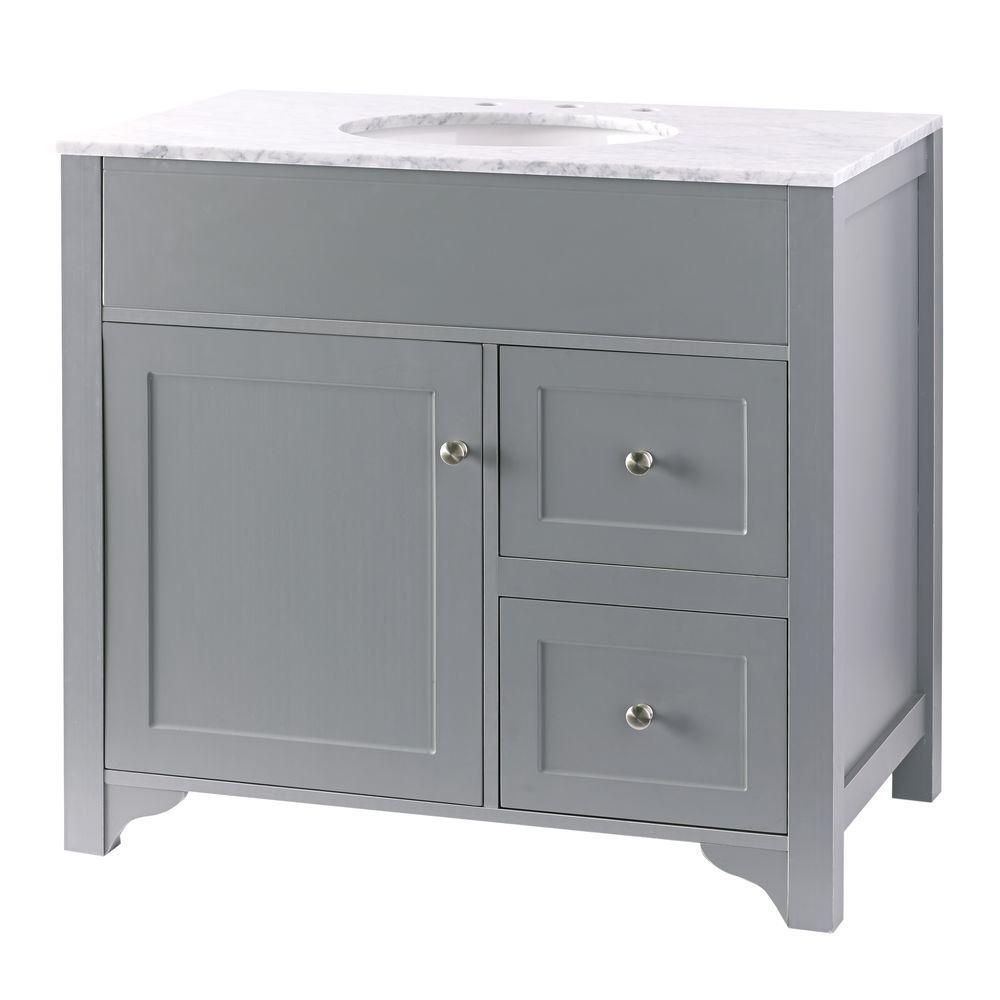 Hillsbury 36 in vanity in cool gray with marble vanity - White bathroom vanity with marble top ...
