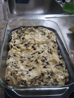 Lazy Cake Cookies: 1 box yellow cake mix, 2 eggs beaten,  5 Tbsp melted butter,  2 cup M's or mini chocolate chips.   Mix together, put in a 9x13 pan and bake at 350 for 20 min!