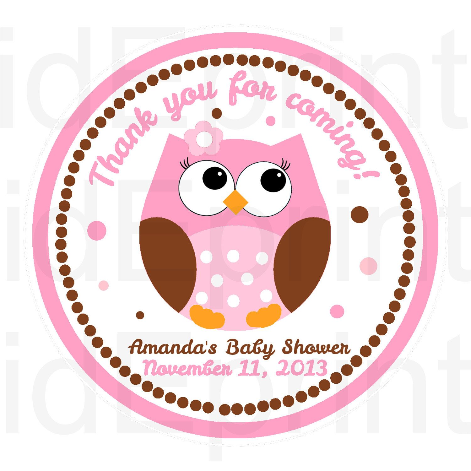 Printable Girl Owl Baby Shower Favor Tags by kidEprints on Etsy