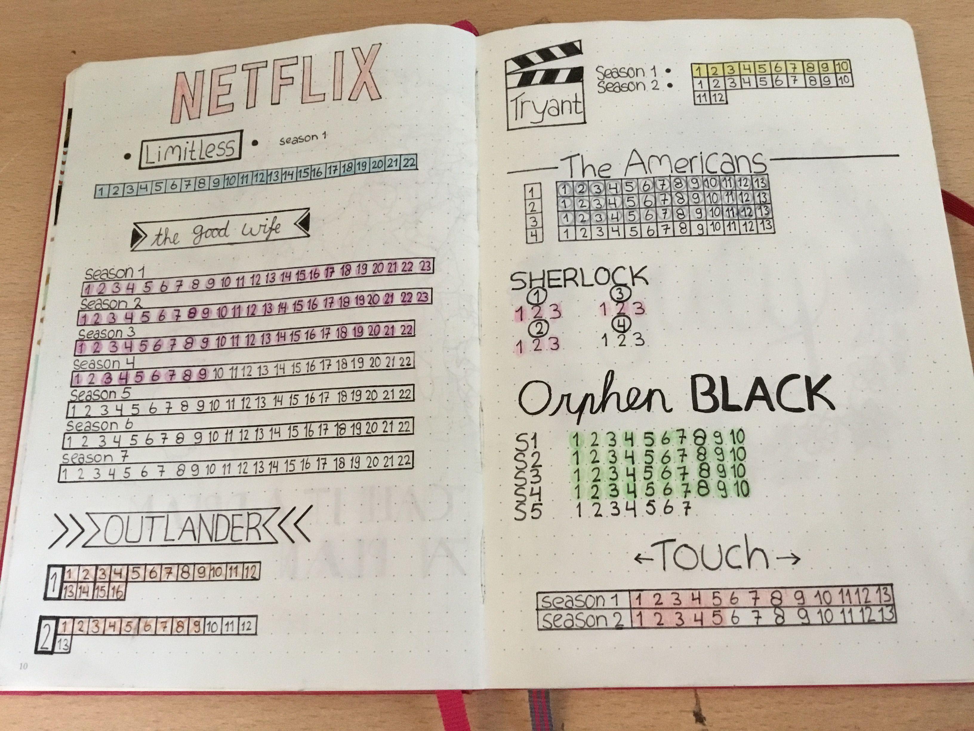 bullet journal series tracker netflix bullet journal pinterest. Black Bedroom Furniture Sets. Home Design Ideas