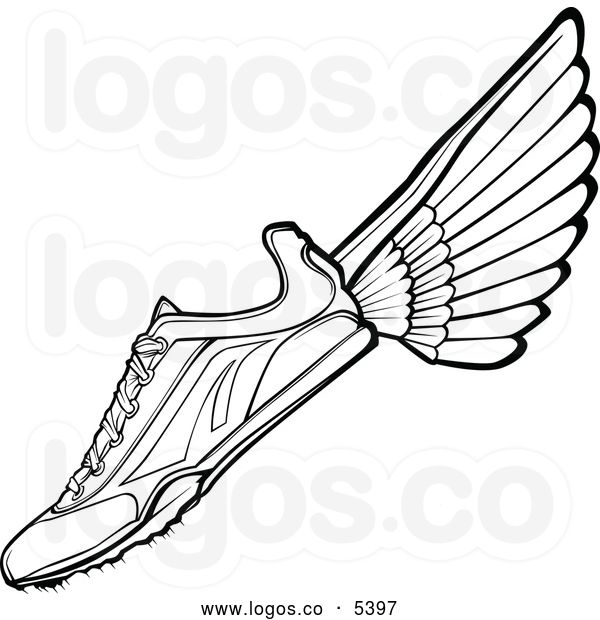 Royalty Free Vector Of A Logo Of A Black And White Track Shoe With Wings Track Shoes Country Tattoos Wing Shoes