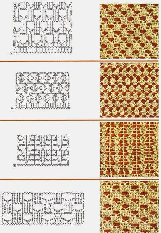 17 patrones gratis de tejido con ganchillo puntadas caladas para coleccionar y guardar como pdf o imágenes individuales