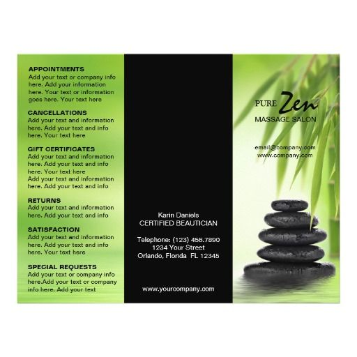 Customizable Brochure For Spa Massage Salon  Brochures Salons