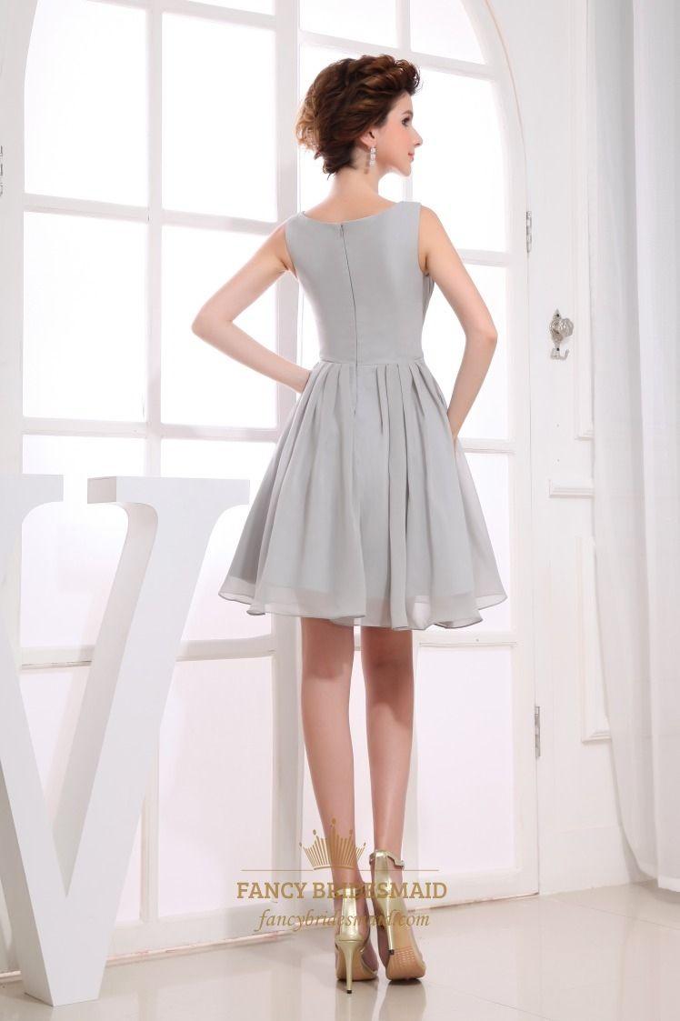 2e94f3362fc0 Gorgeous Gray Short Pleated Chiffon A-Line Bateau Bridesmaid Dresses ...