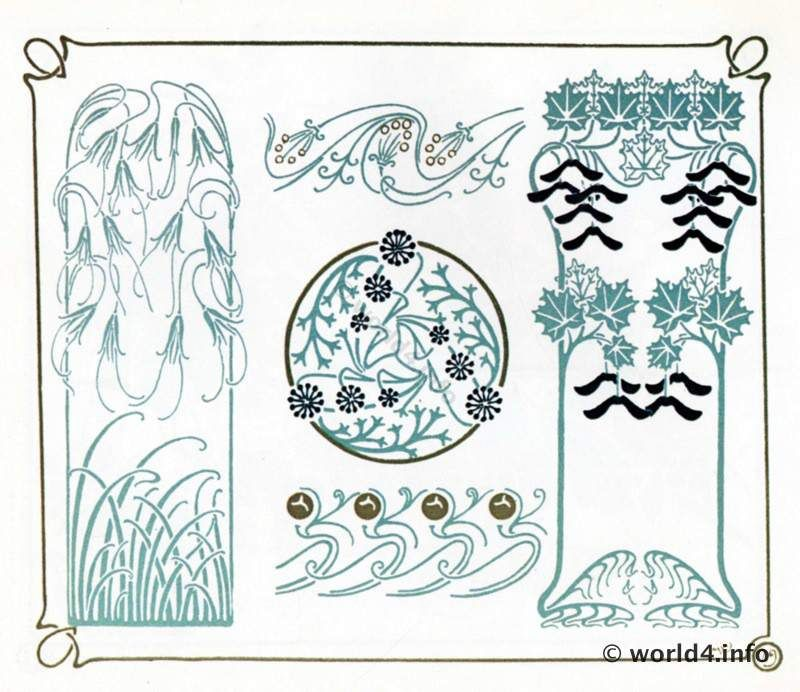 Art nouveau graphics design. Free Art deco templates and ...