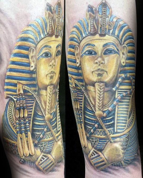 Blue And Gold Ink Mens King Tut Arm Tattoos | Mis Tattoos ...
