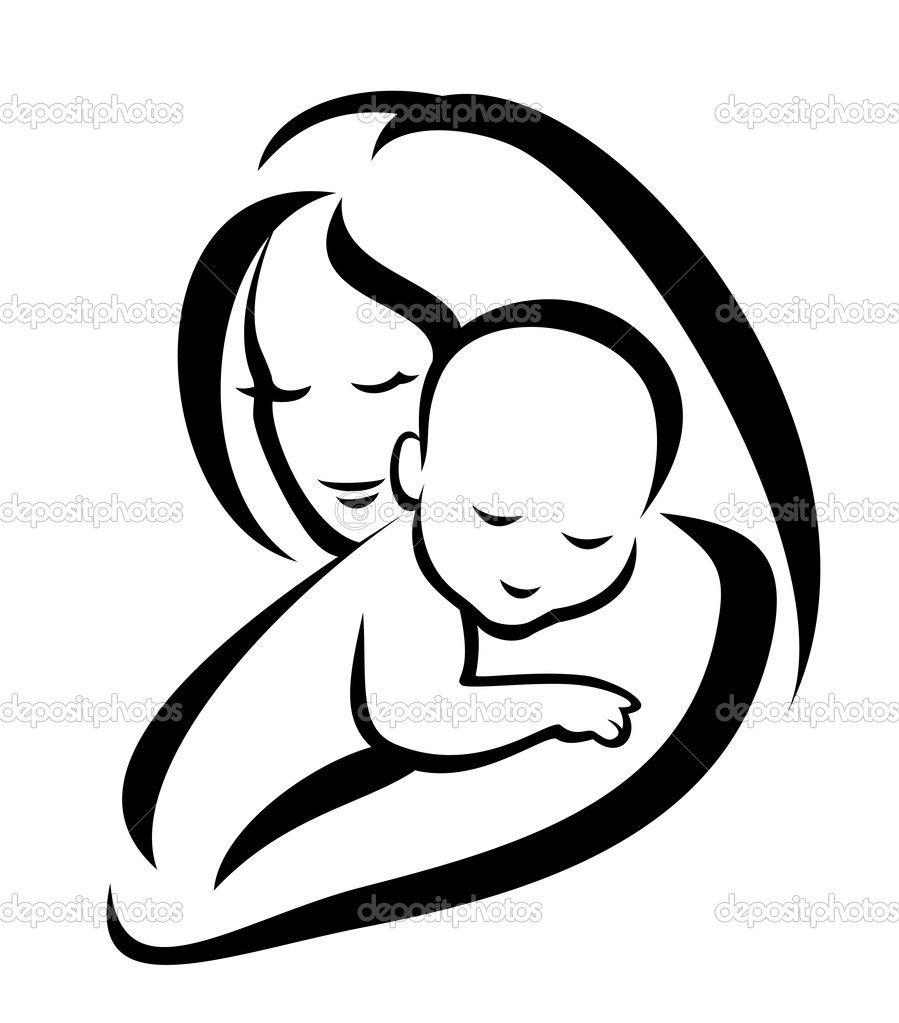 Mom And Baby Tatuagens Silhueta Bebe Desenho Pintura Mae E Filho