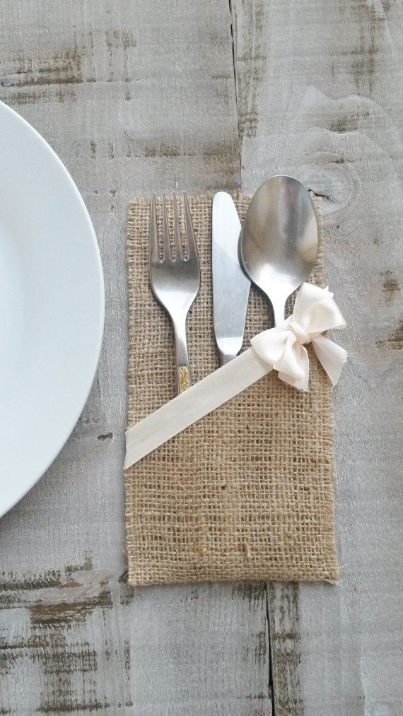 Burlap Silverware Holder Burlap Cutlery By Ajrusticcreations