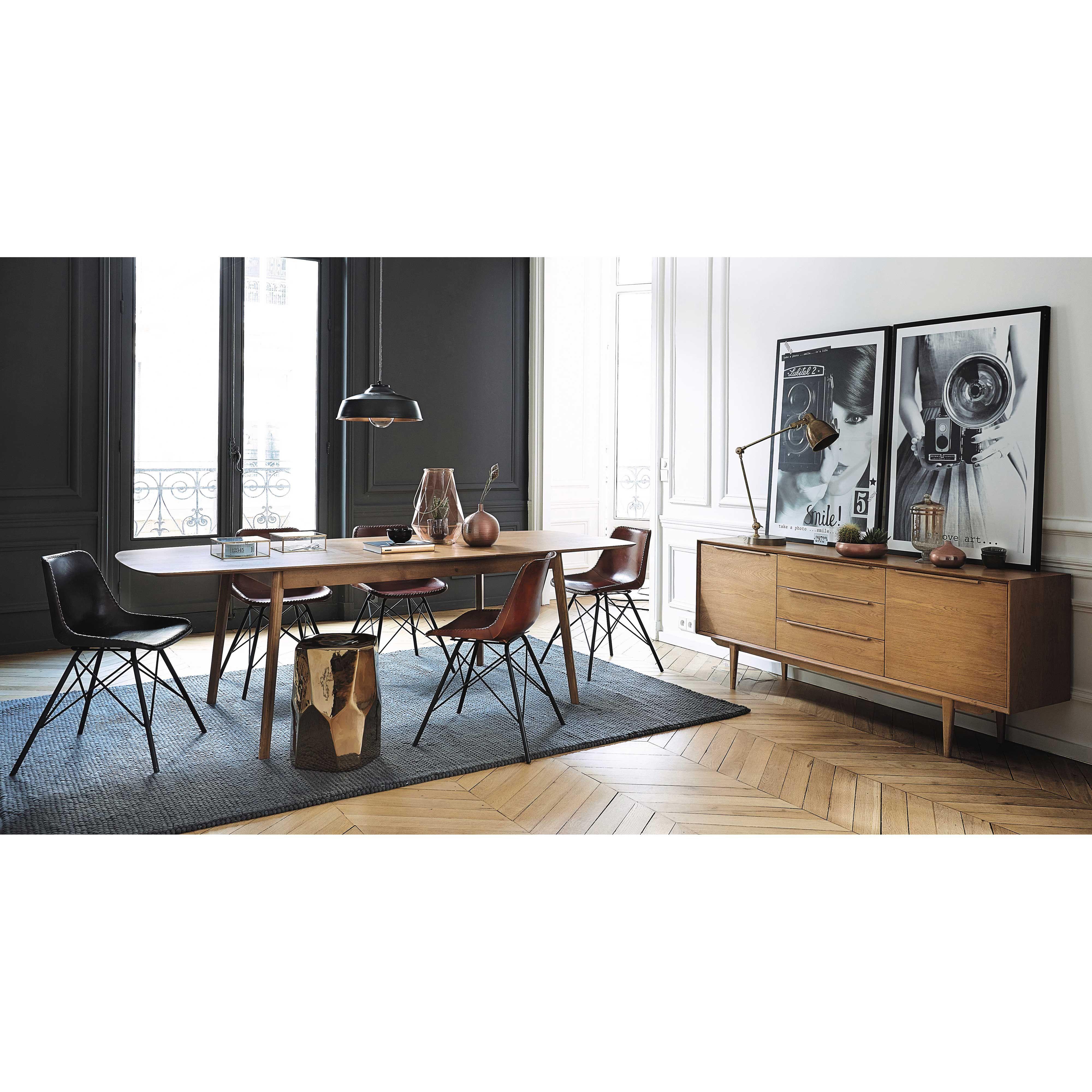 Table De Salle à Manger Vintage En Chêne Massif L 180 Cm Portobello    Maisons Du