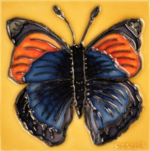"""Decorative Tiles To Hang Decorative Ceramic Art Tile  4"""" X 4""""  Butterfly On Yellow"""