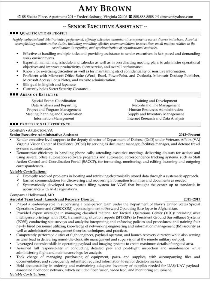 Senior Executive Assistant Resume (Sample) Resume Samples - examples of resumes for administrative assistants