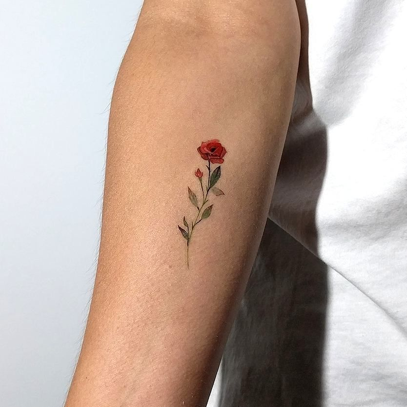 Small Rose Tattoo Artist Lena Fedchenko Moscow Berlin Submit Your Tattoo To 900 000 Followers Here T Small Rose Tattoo Tiny Rose Tattoos Coloured Rose Tattoo