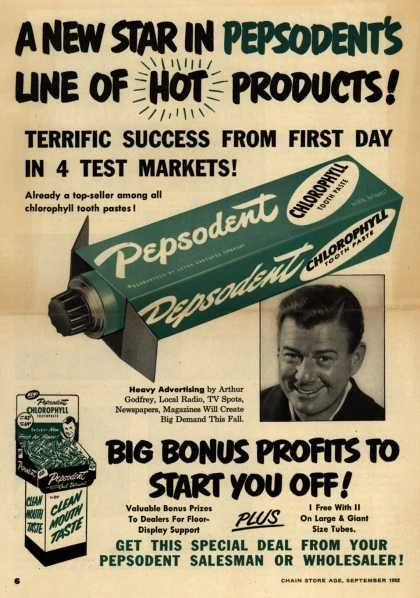 Lever Brothers Company's tooth paste – A New Star In Pepsodent's Line Of Hot Products (1952)