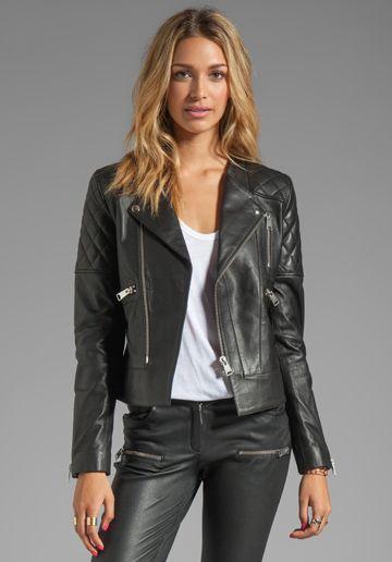 ANINE BING Leather Biker Jacket in Black at Revolve Clothing