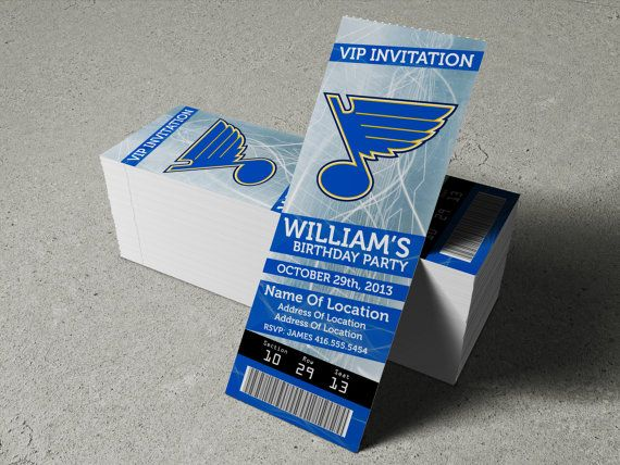 St Louis Blues Birthday Party Event Ticket Invitation 2 5 X 7