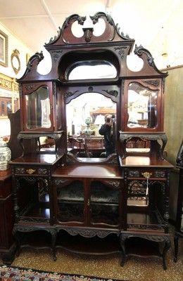 Stunning Rosewood English Victorian Rococo China Curio Cabinet C1870 Superb Ebay