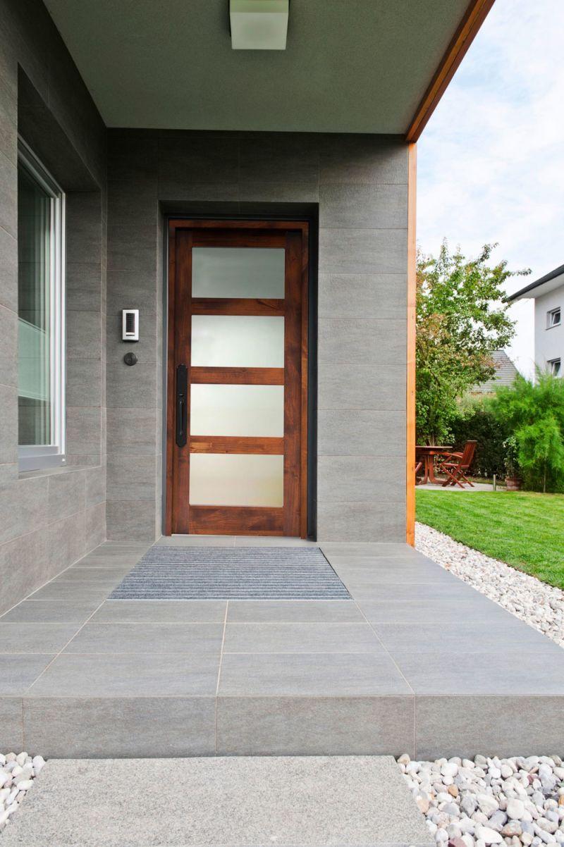 Contemporary 4 Panel Glass Front Door Rustica Hardware Details